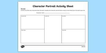 pin  aoife maughan  reading activity sheets primary resources character portraits
