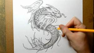 Koi Fish Morphing into a Dragon - Sketching Design Idea ...
