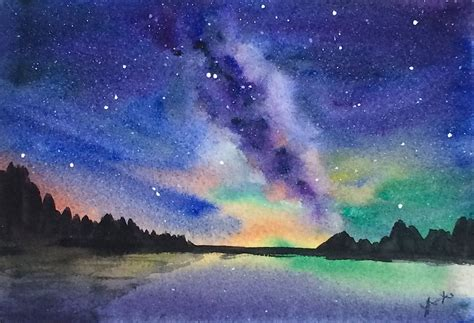 Original Watercolor Landscape Painting Milky Way