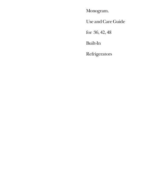 ge monogram refrigerator  users guide manualsonlinecom