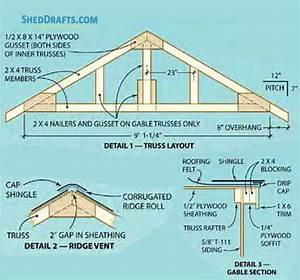11 U00d716 Gable Garden Shed Plans Blueprints For Assembling
