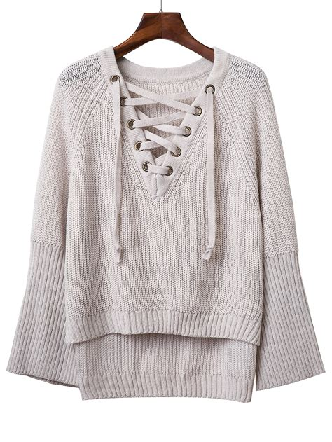 lace up lace flats grey v neck lace up raglan sleeve sweaterfor romwe
