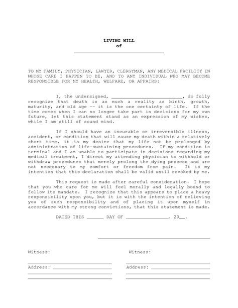 templates for wills free living will exles world of exles