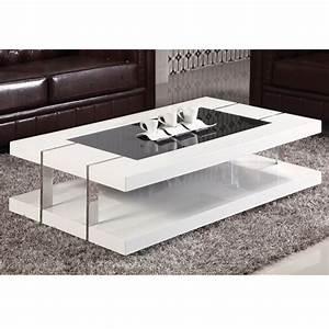 Table Basse DESIGN Laqu Blanc Verre Tremp Achat