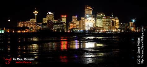 Tower Lights by Panoramic Image Of The Calgary Cityscape At Night Sean