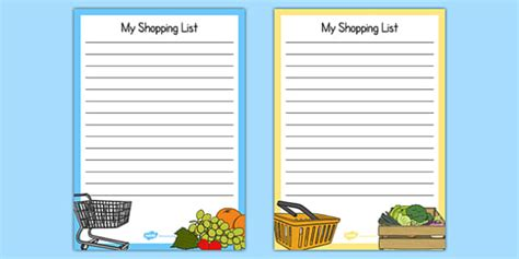 Fruit And Veg Shop Role Play Shopping Lists