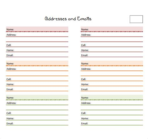 Address Book Template 10 Address Book Sles Sle Templates