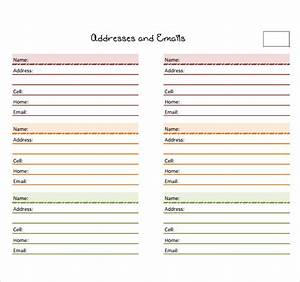 Sample address book template 9 documents in pdf word psd for Microsoft excel address book template