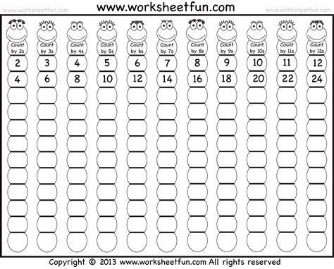 Skip Counting By 2, 3, 4, 5, 6, 7, 8, 9, 10, 11 And 12  Two Worksheets  Free Printable