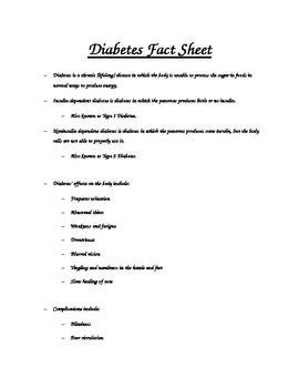 diabetes fact sheet by banister teachers pay teachers