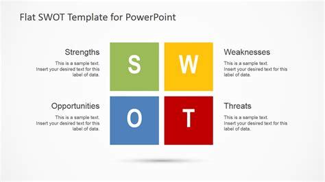flat swot analysis design  powerpoint slidemodel