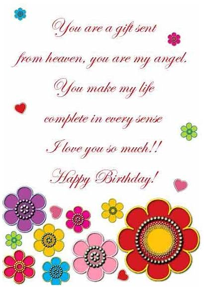 Birthday Printable Cards Wife Card Happy Daughters