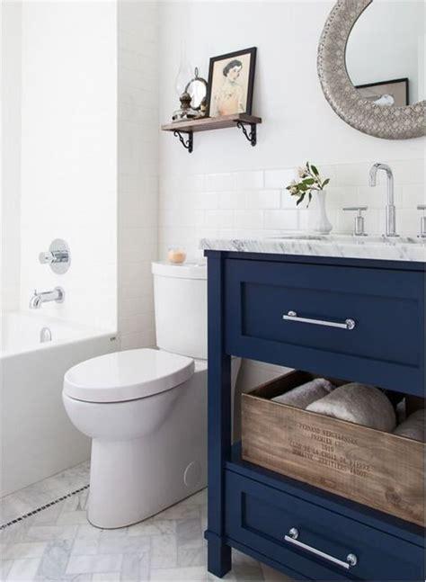 navy bathroom vanity the navy blue w the marble floors also herringbone