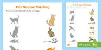 pets shadow matching worksheet activity sheet eyfs early