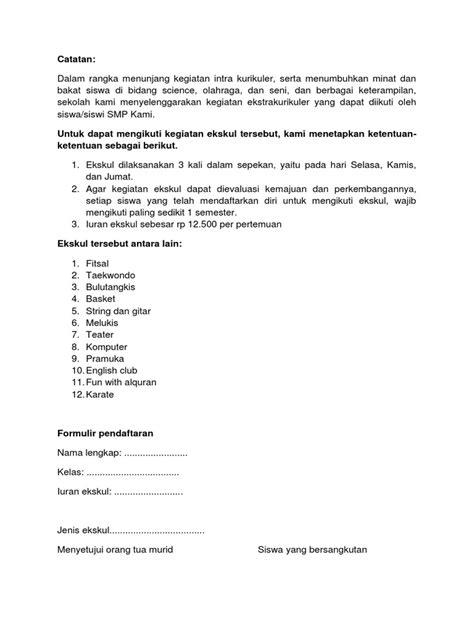 Contoh Format Kegiatan Ekstrakurikuler Docx