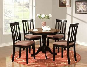 5 pc round table dinette kitchen table 4 chairs oak ebay for Round kitchen table sets