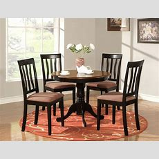 5 Pc Round Table Dinette Kitchen Table & 4 Chairs Oak  Ebay