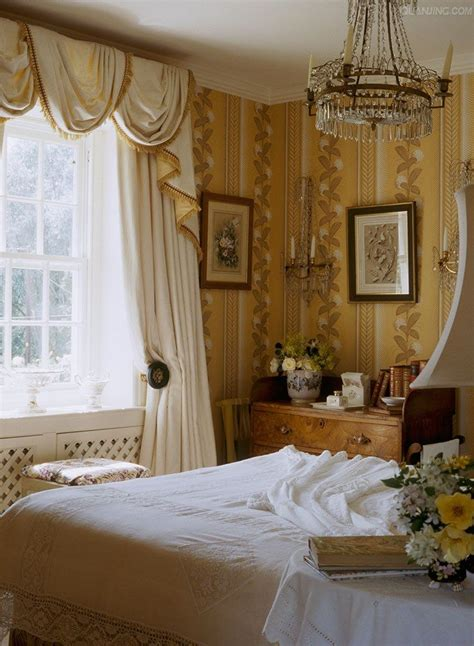 soft yellow  white english cottage bedroom