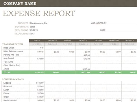 weekly expense report templates office templates
