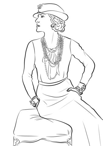 coco chanel coloring page  printable coloring pages