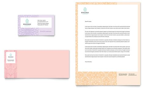 massage business card letterhead template word publisher