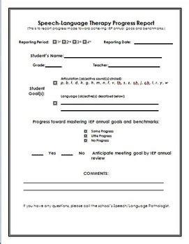 speech language therapy progress report school based