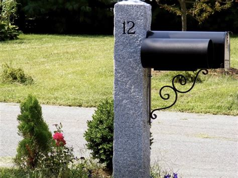Features many mailbox accessories mix custom numbers. Granite Mailbox Post | Sansoucy Stone