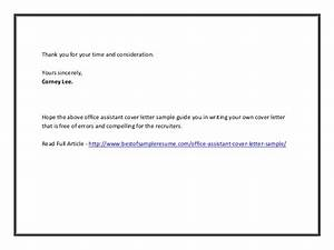 office assistant cover letter sample With cover letter thanks for your consideration