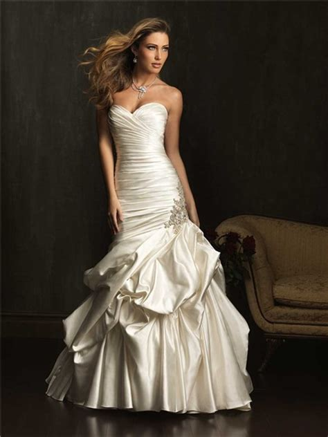 mermaid sweetheart satin ruched fit  flare wedding