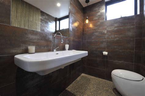 Metallic Bathroom Tiles by Alisa Lysandra Ground Floor Powder Room Metallic Rust