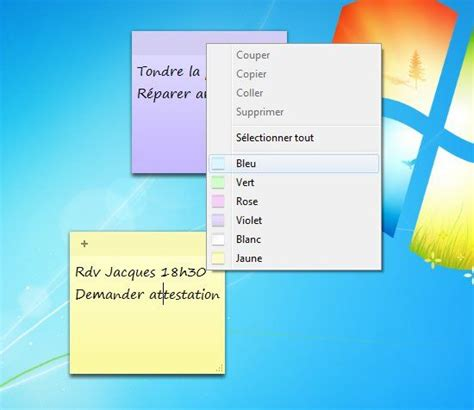bureau post it afficher des post it sur un ordinateur windows 7 lecoindunet
