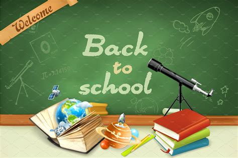 Back To School Backgrounds by Welcome Back To School Illustrations Creative Market