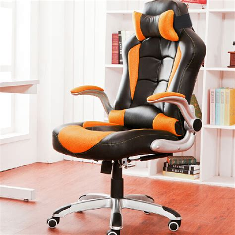 black orange high back executive office chair leather