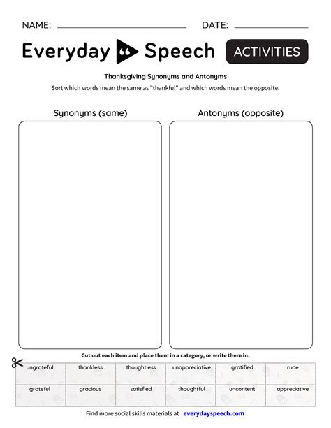 Thanksgiving Synonyms And Antonyms  Everyday Speech  Everyday Speech