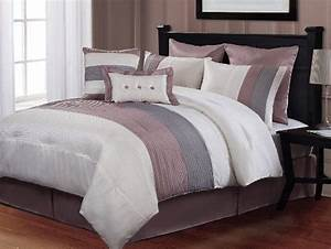 8, Pc, Modern, Pink, Grey, White, Bed, In, A, Bag, Comforter