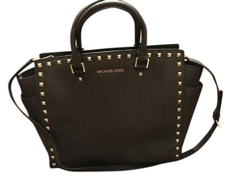 michael kors large selma chocolate brown w gold studs