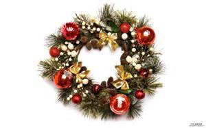 christmas wreath with baubles photo wallpaper view