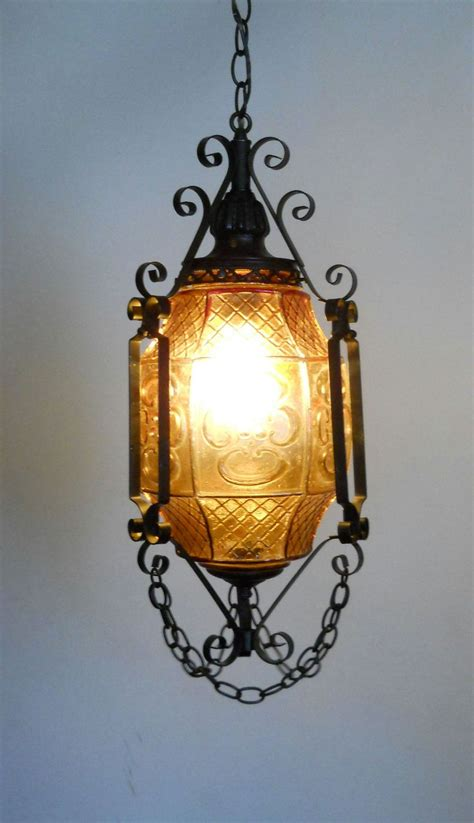 Gothic Lantern / Amber Art Glass and Wrought Iron Swag