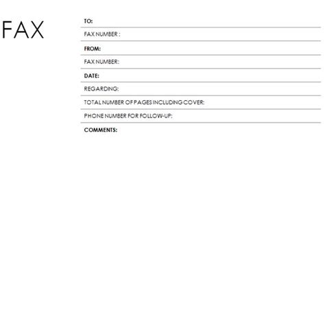 search results for standard fax cover sheet template