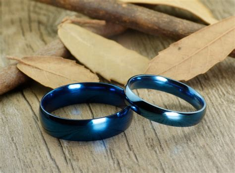 handmade blue dome plain matching wedding bands couple rings