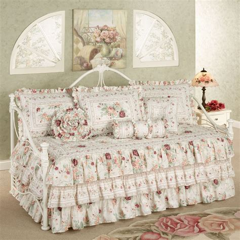daybed comforters english rose floral ruffled daybed bedding set