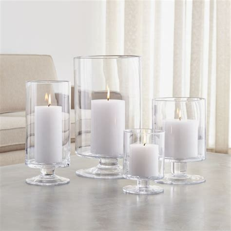 london glass hurricane candle holders crate  barrel