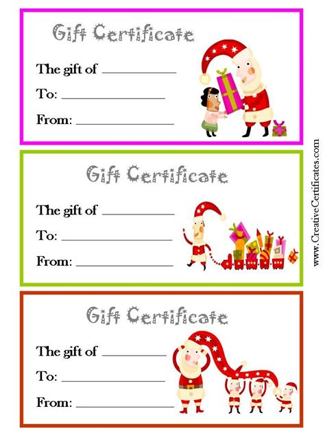 gift certificates christmas gift certificate template