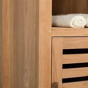 Salle De Bain Teck : colonne de rangement en bois teck massif nature ~ Edinachiropracticcenter.com Idées de Décoration