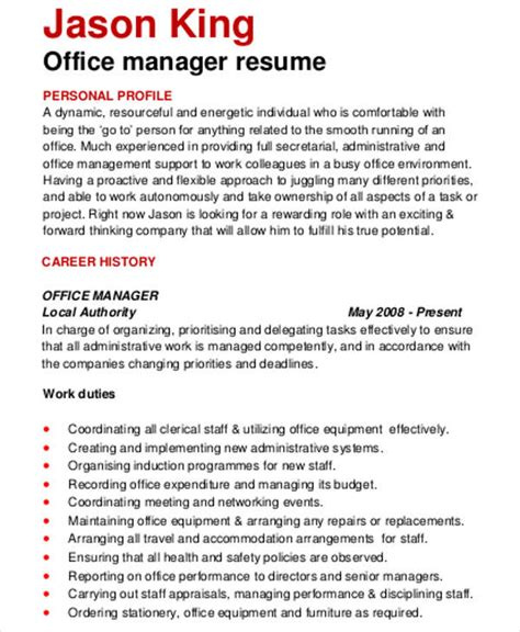 Office Manager Resume Template by 56 Manager Resumes In Pdf Free Premium Templates