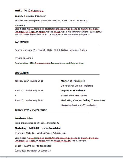 Translator Resume Sle by Resume Translator Resume Sle