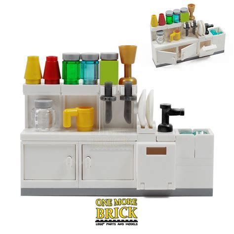 LEGO Kitchen sink, cabinets, utensils and accessories