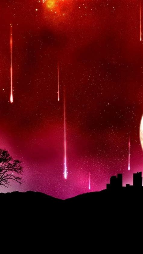 abstract silhouette meteor shower wallpaper
