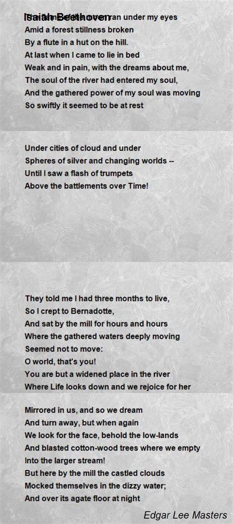 isaiah beethoven poem  edgar lee masters poem hunter