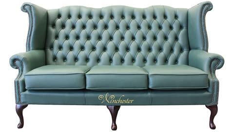 High Back Sofa by Chesterfield 3 Seater High Back Wing Sofa Jade